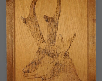 1985 Pyrography Goat Wall Art Pyrogravure Vintage Wood Burning Home Decor