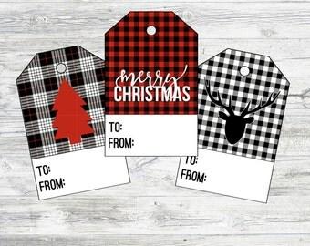 Plaid Christmas Gift Tags. Buffalo Plaid Christmas Tags. Red, Black, and White Plaid Tags. Printable Christmas Tags Instant Digital Download