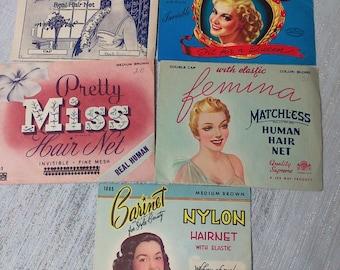 Lot of Five Vintage Ladies Hairnets Hair Dressing Hair Nets Food Serving Hair Nets