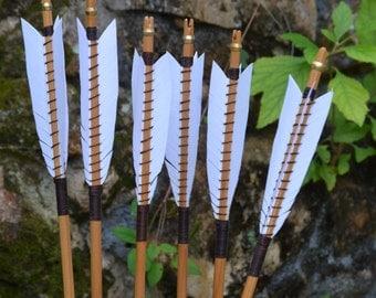 Arrows, wood archery arrows, set of 6 medieval style self nocked arrows