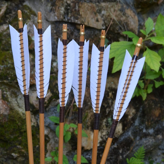 Arrows, wood archery arrows, set of 6 medieval style self nocked arrows