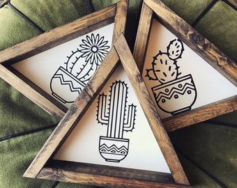 Set of 3 - cactus/succulant triangle frames