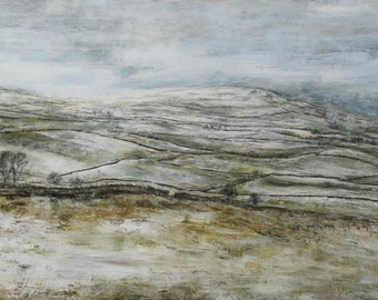 The Yorkshire Dales in Winter Snow Landscape Print Limited Edition Signed from Original Oil Landscape Painting