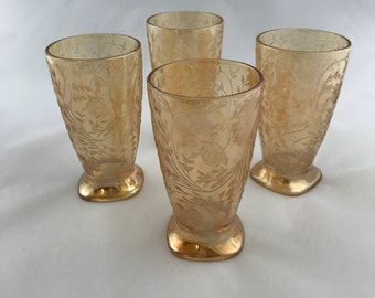 Vintage Glassware Footed Tumbler Floragold pattern Iridescent Amber by Jeannette Glass Company 1950's Set of Four Gorgeous Drinkware