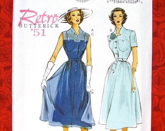 Butterick Easy Sewing Pattern B5920 Pullover Dress, Slip, Fitted Bodice, Sizes 14 16 18 20 22, Retro 1950's New Look MCM, Summer Fall, UNCUT
