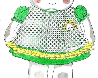 "Vintage 15"" Cloth Doll Pattern Includes A Tiny Cloth Doll In Her Pocket"