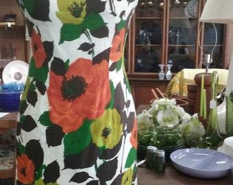 Green and Orange Floral Women's Sheath Dress Vintage