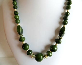 Beaded Necklace Vintage Olive Green Silver Gold