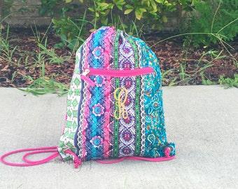 Bohemian Drawstring Backpack, Pink Drawstring Bag, Paisley Drawstring Bag, Cinch Sack, Colorful Drawstring backpack, Girly Drawstring Bag