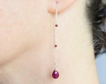 Silver Threader Earrings, Ruby Ear Thread Earrings, Red Dangle Earrings, Long Earrings July Birthstone Chain Earrings Red Stone Earrings