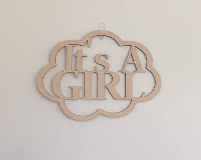 "12"" Wood It's A Girl Laser Cutout Pregnancy Birth Announcement Nursery New Baby Unfinished"