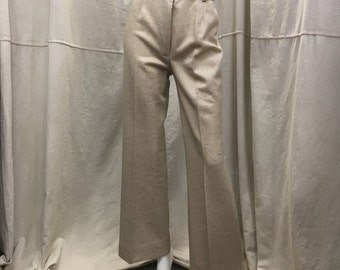 High Waisted Wide Leg Pants, Belted Tan Speckle, Cuffed, Women's Small 70s Bell Bottoms