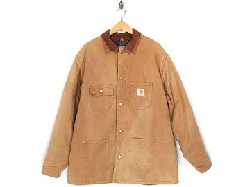 Vintage Carhartt Chore Coat - 90s Carhartt Normcore Workwear Beige Chore Jacket - 90s Carhartt Distressed Canvas Blanket Lined Barn Jacket