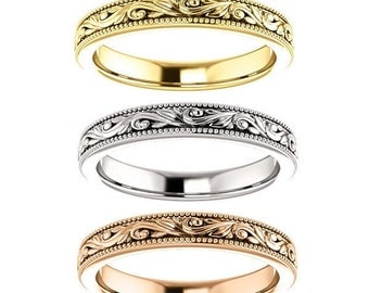 14K Yellow, White or Rose Gold Designer Style Engraved Band Ring
