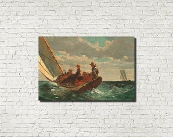 Winslow Homer, American Fine Art Print :  Breezing Up, Seascape Sailing painting