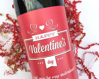 Valentines Day Wine Labels Valentines Gift for Her Gift for Him Be My Valentine Personalized Valentine Gift Happy Valentines Day
