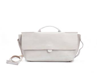 Off White Leather Purse / Women's Bag / Evening Clutch / Top Handle Handbag / Crossbody Purse / Shoulder Bag / Small  Every Day Bag - Romie