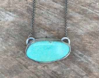 Number 8 Turquoise Necklace, One of a Kind Sterling Silver Turquoise Gemstone December Birthstone Necklace