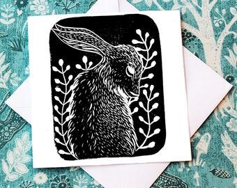 Hare Greeting Card - Original Linocut Block Print Square Blank 6x6