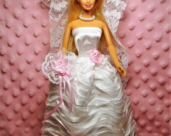 "Barbie Wedding Dress - White Satin ""Ribbon"" Wedding Dress, Veil, Bouquet, Garter, Necklace & Shoes"