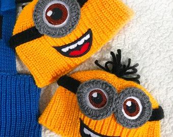 Baby Minion Hat Baby Photo Prop Hat Baby Minion Crochet Baby Beanie Crochet Photo Prop Baby Minion Beanie Crochet Baby Minion Baby Minion