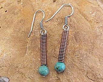 Sterling silver/Copper hook earrings