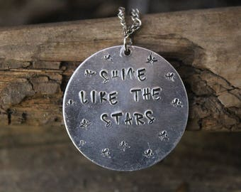 Quote Custom Stamped Necklace/ Monogram Jewelry/ Custom Jewelry/ Stamping Metal Jewelry/ Star Jewelry/ Quote Jewelry/ Inspirational Jewelry