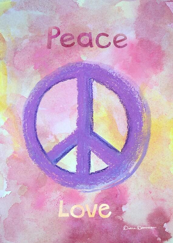 Peace Love Mixed Media Pastel & Gouache Painting Boho Lifestyle Art Print