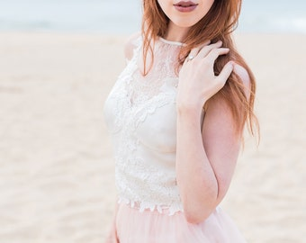 Bridal boho chic crop top for brides designed for beach destination weddings, garden weddings, rehearsal dinners, and parties