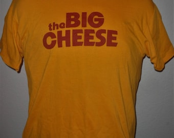 Vintage Original 1970s 1980s The BIG CHEESE Soft Thin Yellow Athletic Made in USA Hanes T Shirt L