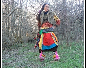 Ethnic winter skirt in colorful woolen patchwork
