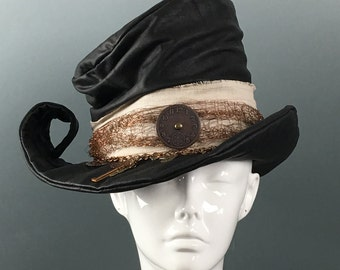 MTO Eleanor II Steampunk Mad Hatter Lambskin Black Leather Top Hat Cosplay Costume Millinery - Custom made sculptural Top Hat