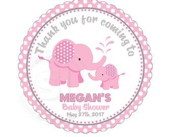 "Custom Elephant Printable Baby Shower Tag- 2.5"" Printable Cute Baby Elephant Thank you Tags-Pink Grey White polka dots - Digital file"