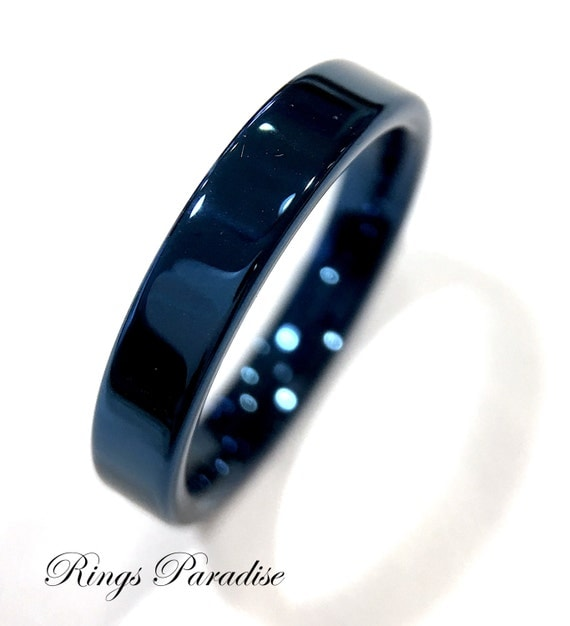 Wedding Bands Blue Tungsten Ring Couples Wedding Ring