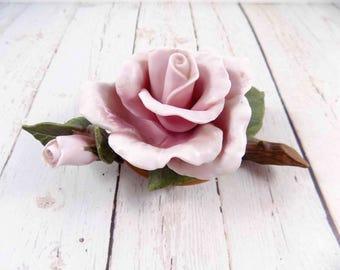 Ceramic Rose,Teleflora Gifts,vintage,pink rose,ceramic rose,flower,1986,knick knacks,roses,ceramic roses,teleflora rose,ceramic flower,mauve