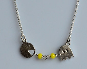 Pacman necklace, 925 silver necklace, silver chain, ghost necklace, necklace playing 80 years, vintage, handmade, silver jewelry, Made Italy