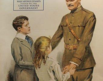 1918 Vintage American Propaganda Poster, War Savings Stamps - WWI Memorabilia, Military Gifts, Officer Pershing