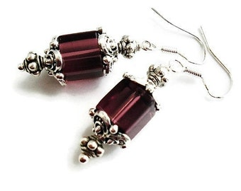 Sterling Silver Burgundy Earrings Wedding Jewelry Vintage Style Silver Earrings Bridesmaid Gift Victorian Earrings Burgundy Jewelry For Her