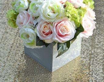 Rustic Wedding Centerpiece Pink Blush Roses With Hydrangeas Peonies Hydrangea