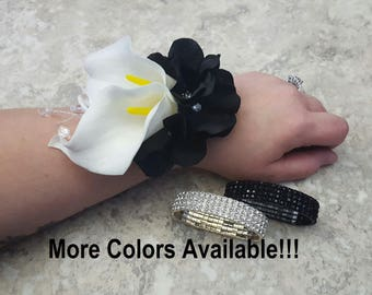 Real Touch White Calla Lilies, Black Hydrangea with Diamond Centers Rhinestone Wrist Corsage & BOX - MATCHING  Boutonnieres!
