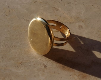 Vintage golden ring with mirror effect button from sixties, chromium plated, gift ideas for her, elegant jewelry, retro style, free shipping