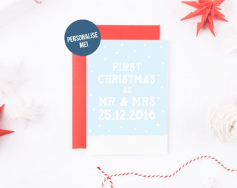 Mr And Mrs Christmas Card, Snow Christmas Card, First Christmas As Mr & Mrs, Merry Christmas Newly Married Couple, Personalized Christmas