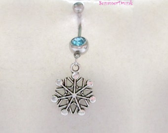 Christmas belly button ring , Navel ring, Belly button Jewelry, Belly button piercing, Snowflake piercing