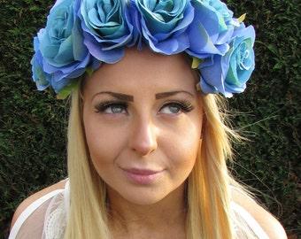 Large Turquoise Blue Rose Flower Headband Garland Hair Crown Festival Boho 1727