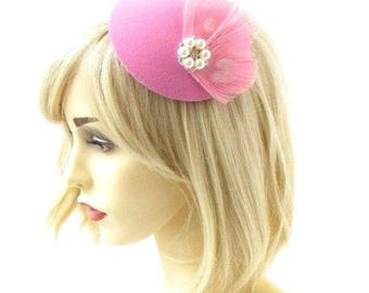 Small Pink Ivory Feather Pillbox Hat Hair Fascinator Races Headpiece Clip 2338