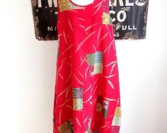 Boho Vintage Style Red Patchwork Womens Dress, Summer Dress, Winter Dress, Linen Cotton Floaty Sleeveless Dress