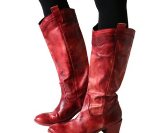 Vintage Red Pink Brown Boots Genuine Leather Boots Tall Women's Boots Made in Italy 41/7.5/10