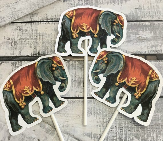 Cupcake Toppers - Vintage Circus Elephant,Elephant Cupcake  Toppers, Birthday Party Decorations, Circus Party,Circus Birthday Party,Elephant