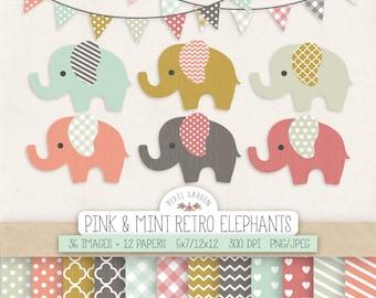 Elephant Clipart. Baby Shower, Nursery Clip Art & Digital Paper. Banners in Mint, Peach, Mustard, Chevron, Hearts, Polka Dot Patterns.
