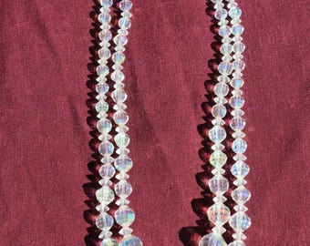 """1950s Glass Crystal Necklace 14"""" Single Strand AB Iridescent Graduated Cut Faceted Glass Beads"""